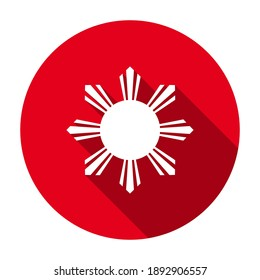 Red flat round eight-rayed sun of flag of the Republic of Philippines icon, button with long shadow isolated on a white background. Vector illustration.