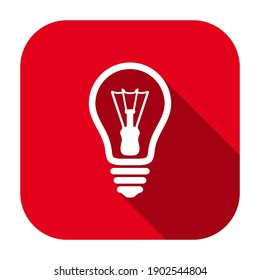 Red flat rounded square light bulb line icon, button with long shadow isolated on a white background. Vector illustration.