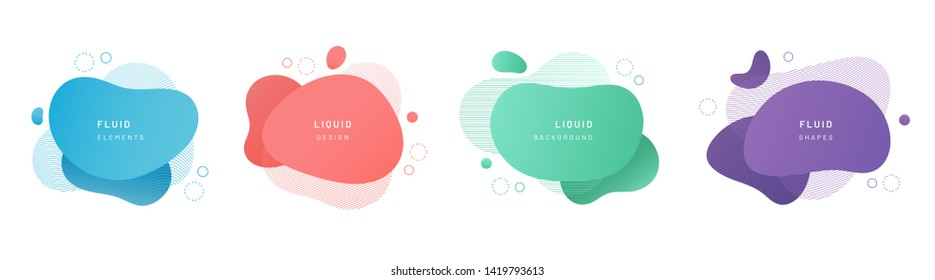 Red flat shape and green fluid blob, blue liquid stain and violet geometric form. Set of isolated abstract aqua spot with gradient or dynamic color. Background for card or template design for flyer.