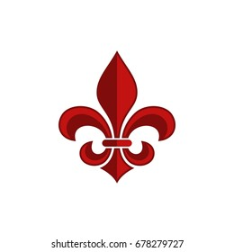 Red Fleur De Lis Logo Template Illustration Design. Vector EPS 10.
