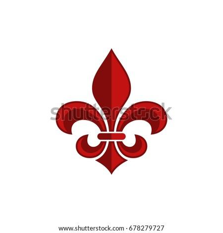 Red Fleur De Lis Logo Template