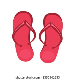 Red flip flops. Footwear, accessories, slippers. Vector illustration can be used for topics like summer vacation, beach, seaside
