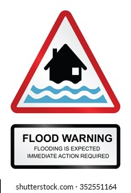 Red flood warning sign isolated on white background