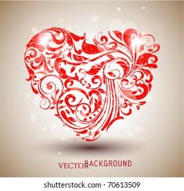 Red floral grunge heart