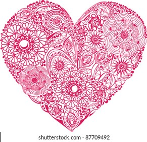 Red floral heart on white background. Element for your Valentine`s Day Design