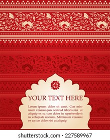 Red floral Indian saree background with banner for text