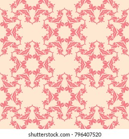 Red floral ornament on beige background. Seamless pattern for textile and wallpapers