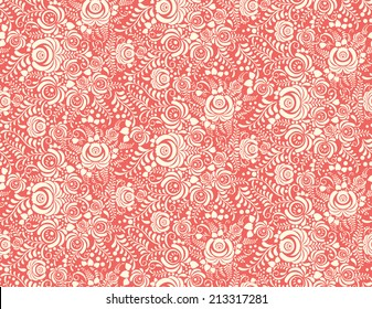 red floral textile vector seamless pattern in Russian gzhel style