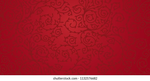 Red floral vector  ornament design for background. Dark swirls and leaves on red surface.