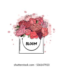 Red flower bag isolated on white background. Vector Hand drawn bloom box with pink glossy garden flowers. Trend glamour fashion illustration kit vogue style. Birthday or valentines present