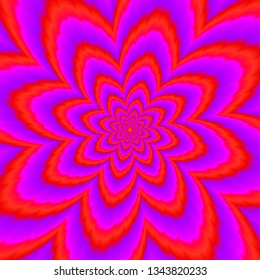 Red flower blossom. Optical expansion illusion.