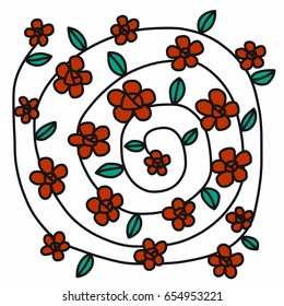 Red flower circle wreath vector illustration