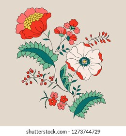 Red Flower, hand drawing, motive design, embroidery design in vector.