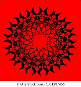red flower mandala with twenty-six petals and six layers of circles. Simple Mandala Shape for Coloring. Vector Mandala. Floral. Flower. Oriental. Book Page. Outline.