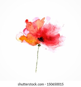 Red flower. Poppy. Watercolor floral illustration. Floral decorative element. Vector floral background.