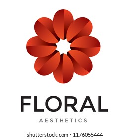 Red flower shaped aesthetic logo. Harmonic vector icon with red gradients. 3D logo with feminine mood design.