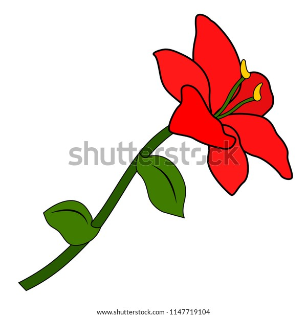 Red flower, six petals, green leaf and stem, white background, isolated object, simple stylized pattern, Version 3