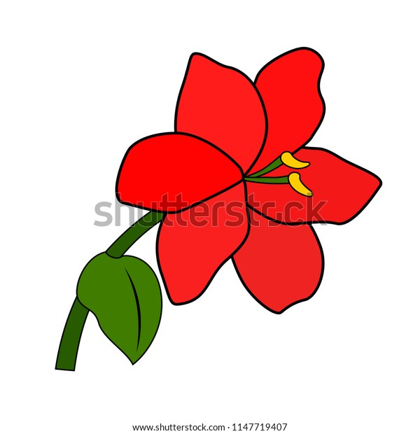 Red flower, six petals, green leaf and stem, white background, isolated object, simple stylized pattern, Version 1