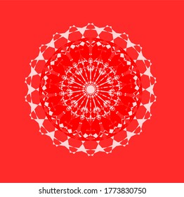 red flower with twenty two petals.Decorative round floral mandala. Floral designs for Business card, greeting card, wedding invitation, Gift voucher, background pattern, fashion design. vector.