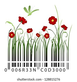 Red flowers barcode