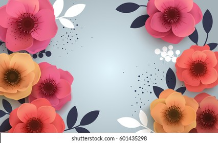 Red flowers with realistic shadow to banner or promotions. Background with anemones can be used for a magazine, web, advertising.