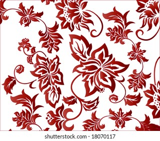 Red flowery background pattern vector illustration