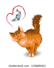 Red fluffy cat dreams of fish. Isolated on white background. Vector illustration.