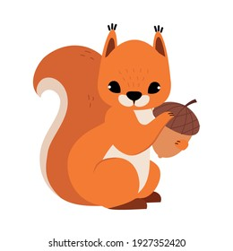 Red Fluffy Squirrel with Bushy Tail Holding Acorn Vector Illustration