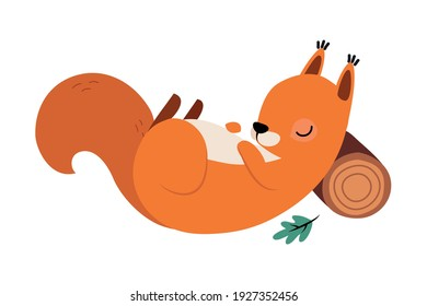 Red Fluffy Squirrel with Bushy Tail Sleeping Leaning on Log Vector Illustration