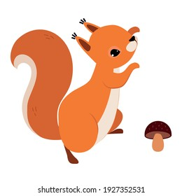 Red Fluffy Squirrel with Bushy Tail Jumping Near Mushroom Vector Illustration