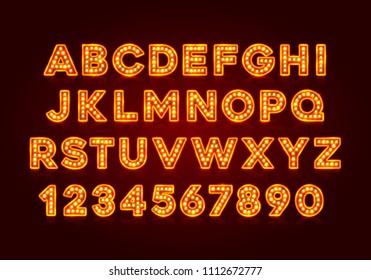 Red fluorescent neon font on dark background. Nightlight alphabet. Vector illustration.
