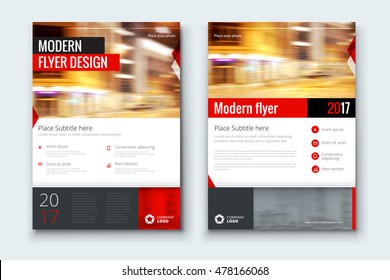 Red flyer. Corporate business annual report brochure flyer design. Leaflet cover presentation. Flier with Abstract geometric background. Modern publication poster magazine, layout template A4