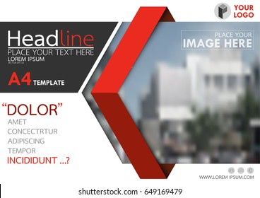 Red flyer cover business brochure vector design, Leaflet advertising abstract background, Modern poster magazine layout template, Horizontal annual report for presentation.