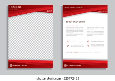 Red flyer design template - brochure - annual report - cover - booklet, front and back page