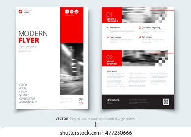 Red Flyer modern cover design. Corporate business template for Annual Report, Catalog or Magazine. Layout with abstract triangular background. Creative poster or flier concept