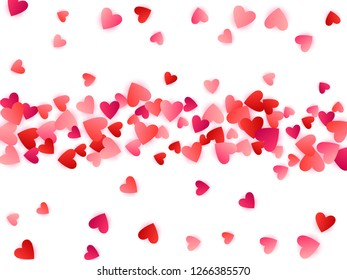 Red flying hearts bright love passion vector background. Cartoon confetti love symbols pattern. Dreamy flying red hearts scatter for Valentines Day decor.