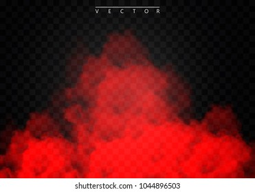 Red Fog or smoke color isolated transparent special effect. White vector cloudiness, mist smog background. illustration