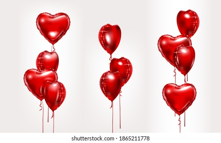 Red foil air balloons set. Collection of different bunch of heart shaped balloons. Party compositions. Valentines day decoration