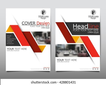 Red fold annual report brochure flyer design template vector, Leaflet cover presentation abstract geometric background, layout in A4 size