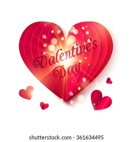 Red folded heart with shining particles and Valentine's Day sign