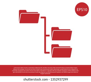 Red Folder tree icon isolated on white background. Computer network file folder organization structure flowchart. Vector Illustration