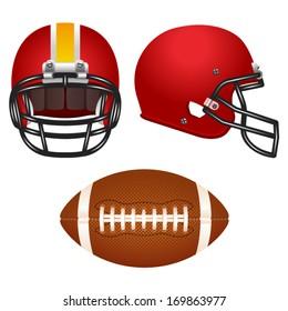 Red football helmet set