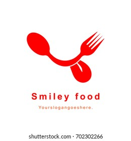 Red fork and spoon happy smile logo. Food icon isolated on white background. Restaurant logotype resembling tongue out smiley face. EPS10 vector illustration for café, canteen, catering, shop.
