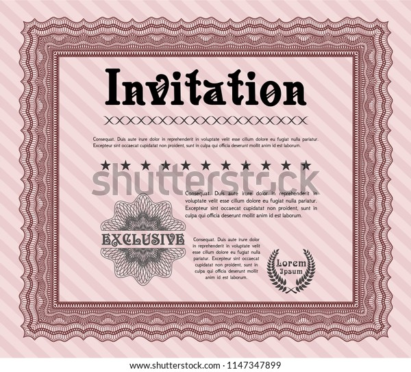Red Formal invitation. Superior design. With guilloche pattern and background. Vector illustration.