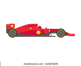 Red Formula 1 One Racing Car Vector