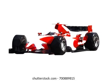 Red Formula Racing Car Abstract Geometric Vector Silhouette