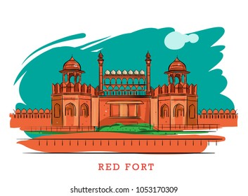 red fort India vector illustration