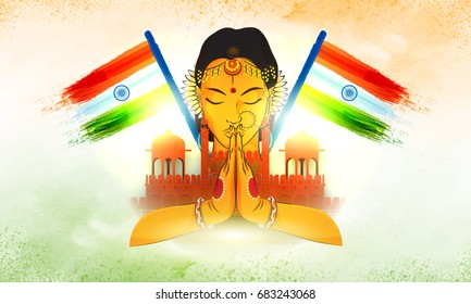 Red Fort with Indian National Flags and illustration of beautiful woman in traditional greeting pose, Creative Incredible India background.