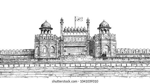 Red Fort, New Delhi, India - Detailed Vector Sketch Illustration