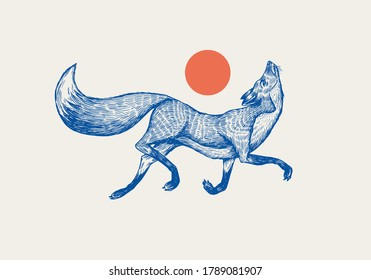 Red fox badge. Forest ginger and red sun. Wild animal. Vector Engraved hand drawn Vintage old sketch for stamp, t-shirt or typography.